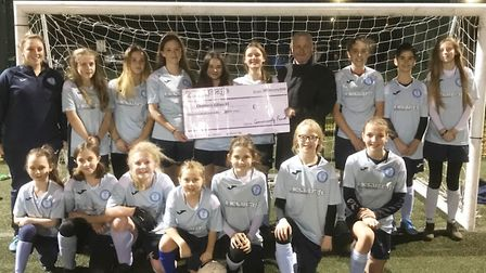 The Chatteris Town Girls team received 360 from Metalcraft as part of the firm's community fund. Pic