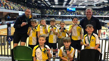 Blue Hornets under-10 boys celebrate at the Copper Box