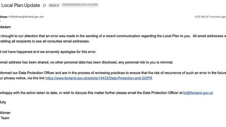 Two hundred email addresses were inadvertently sent by Fenland District Council of people who had re