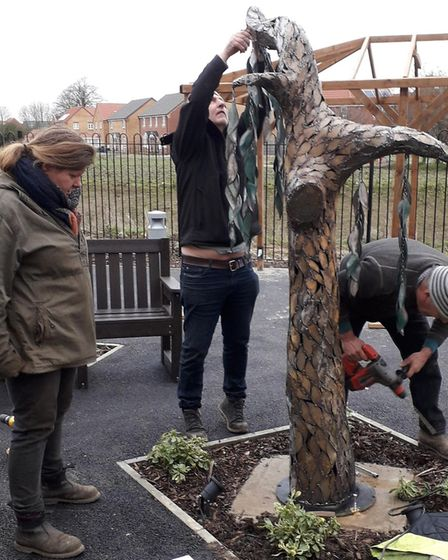 Work carried out on the Weeping Willows sculpture in Whittlesey. Picture: LONGHURST GROUP