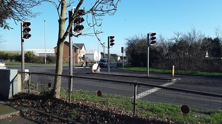 The traffic lights on the A141 at Wimblington were replaced by Cambridgeshire County Council within