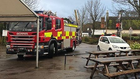 The Fox pub in Burwell had their sign removed by firefighters after it became unsafe during Storm Ci