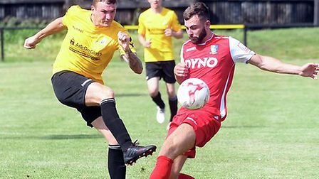 Craig Gillies struck twice as March Town won at Needham Market Reserves last Saturday. Picture: IAN