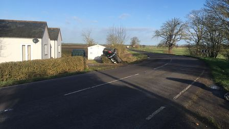 Lucky to be alive: The driver of this Audi A3 escaped injury today after his car left the A1101 on a
