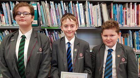 Ely college students celebrated after winning a Young Writers competition. Picture: FACEBOOK/ELY COL