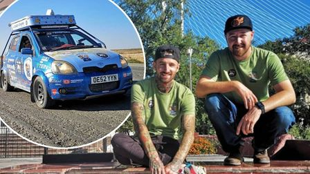 Dan Handley and Dave Brooks drove their 16-year-old Toyota Yaris all the way from the Fens to Japan