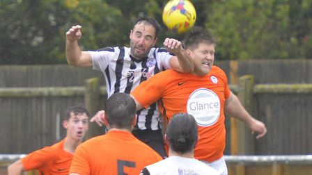 Soham Town Rangers player-coach Lloyd Groves in action earlier this season. Picture: DUNCAN LAMONT