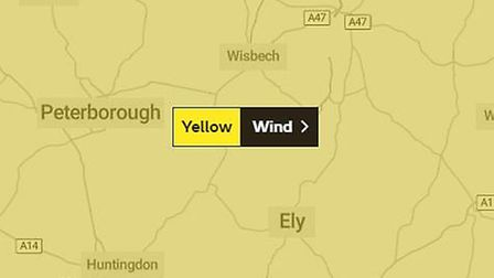 Make way for Storm Dennis! Strong winds to hit Cambridgeshire this weekend. Picture: MetOffice UK