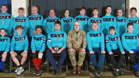 The teams that represented the Cambridgeshire Army Cadet Force at the Eastern Regional Football Cham