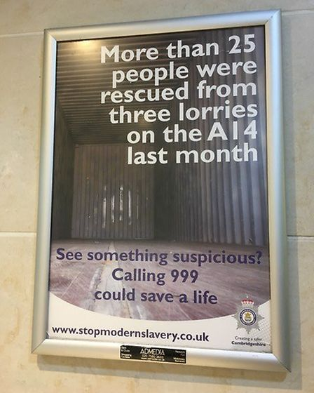 Poster campaign by Cambridgeshire Police is using public loos at place like Cambridge Services to al