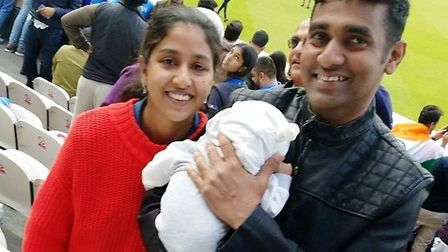 Dr Hasna Kudilatt and her husband and baby. The family has been spared eviction from their Littlepor