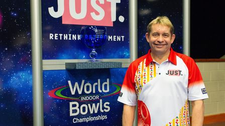City of Ely star Greg Harlow hopes to be lifting the trophy again at the Just 2020 World Indoor Bowl