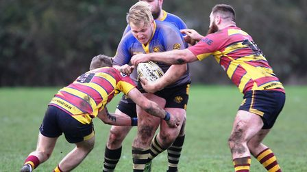 Nathan Brooks gets blocked for Ely. Picture: Steve Wells