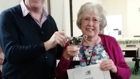 Pam Bedingfield receives the Jean Barker Craft Cup. Picture: RUTH SINDALL