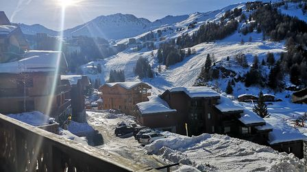 The picturesque view from our chalet balcony. Picture: Harry Rutter