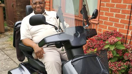Vietnam war veteran Hurley proudly riding his new TV-winning TGA Breeze S4 Max mobility scooter, sup