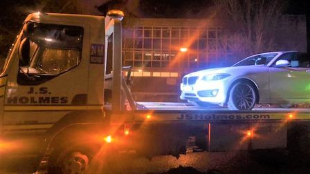 A white BMW was seized in March as the driver had no licence and no insurance. Picture: Twitter/@Fen