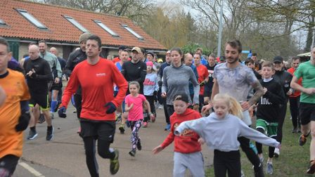 Pupils from St Andrew's School sprint towards success in first Soham parkrun. Picture: MIKE ROUSE