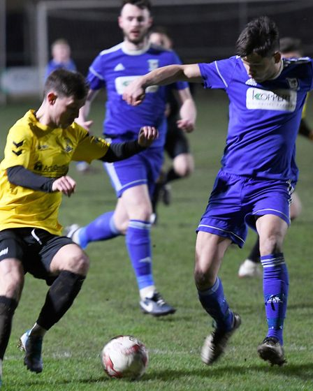 March Town in action against Haverhill Borough in Thurlow Nunn League First Division North. Pictures