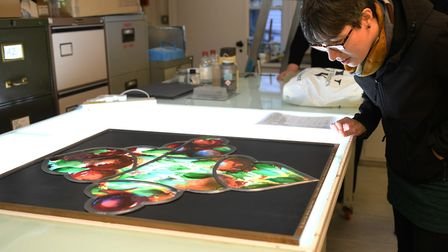 A test panel from Canterbury Cathedrals Damson Window was gifted to the Stained Glass Museum in Ely.