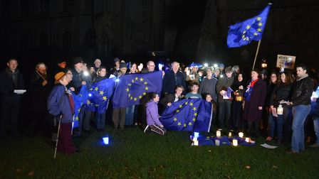 70 pro-Remain supporters gather at Ely Cathedral as the countdown to our departure from Europe began