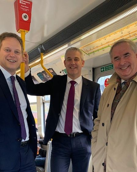 Day tripper Steve Barclay on train to Sunderland for an impromptu Cabinet meeting. Picture; STEVE BA