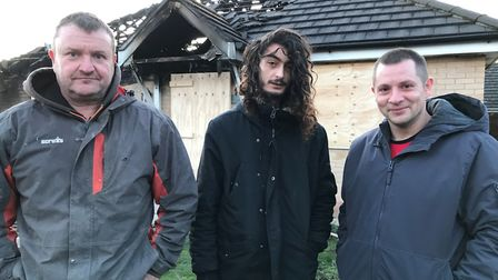 Residents in Stretham helped save their neighbour from a bungalow fire. From left: Kevin Jugg, Milto