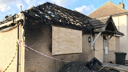 The aftermath following a bungalow fire on Berry Green, Stretham, where residents helped save their