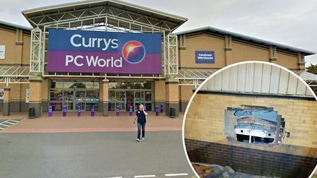 At least four thieves smashed their way into Currys PC World at the Boulevard Retail Park in Peterbo