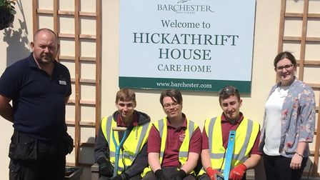 Brickwork students from the College of West Anglia in Wisbech helped the Hickathrift House Care Home