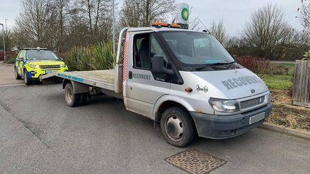 Police seized this break down truck in Littleport after discovering it was unsafe and had no tax or