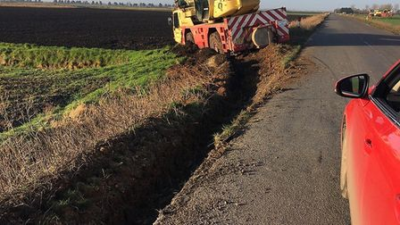 The mobile crane unit that came off Farthing Drove between Sedge Fen and Shippea Hill today, Picture