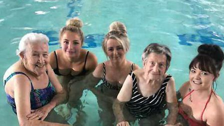 Residents from Aliwal Manor Care Home in Whittlesey at the town''s Manor Leisure swimming pool with
