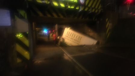 Latest 'casualty' of the bridge at Ely station was this hired van whose driver either failed to read