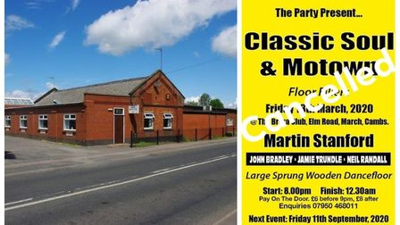 A classic soul and motown event at March Braza Club (left) has been cancelled due to growing coronav