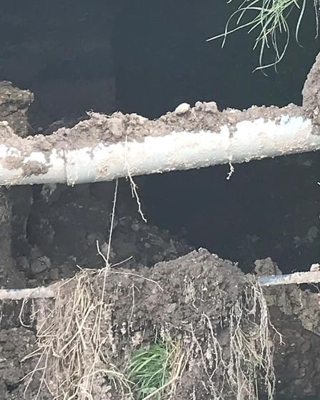 Collapsed culvert on Farthing Drove, Sedge Fen, will take 45 weeks to repair says Suffolk County Cou