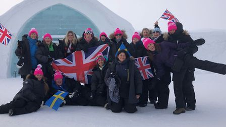 Ginette Heard (front far left, seated) took on the arctic challenge in Sweden with teammates for can