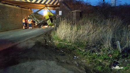 Aftermath of crash at Ely after tipped truck hit rail bridge at Queen Adelaide. Picture; ELY STANDAR