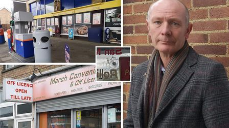 PCC candidate Darryl Preston (right) has responded to reports of attacks on two March businesses. Pi