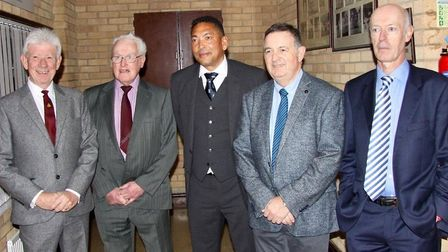 From left: John West, Norman Alterton, Phillip Defreitas, club president and secretary Les Mills and