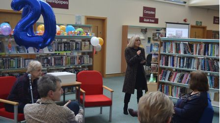 Birthday cake, balloons and live music were all part of the celebrations to mark Ely Library turning