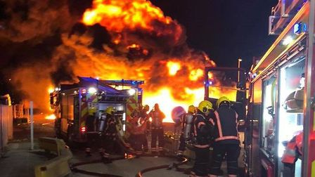 An investigation is underway following a large blaze in Whittlesey. Picture: CAMBS FIRE