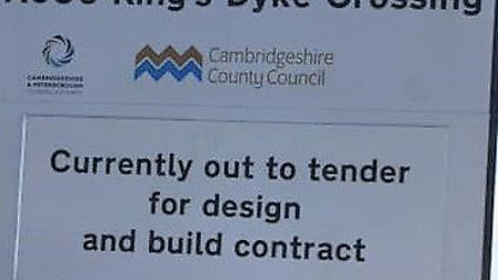 County council sign at Kings Dyke. Picture; CCC