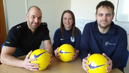 From left: Ian Lombardo, police inspector, Katie Critchley, football development manager at Cambridg