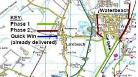 """The first two greater Cambridge """"greenways"""" which will provide off-road routes to connect Fulbourn a"""