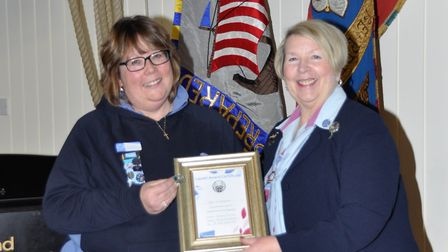 Ely Rainbows and Rangers leader Sue Carpenter (left) received a national award in recognition of out