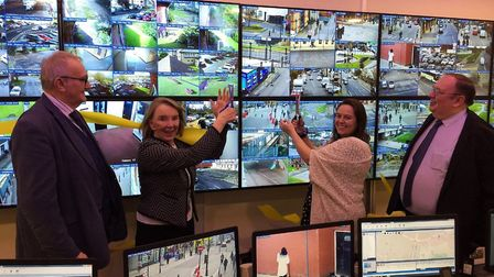 New CCTV control room covering Fenland and Peterborough has opened. From left, Councillor John Holdi