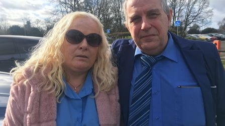 Ruth and Gary at Cambridgeshire Police HQ after they got the news. Picture: John Elworthy/Archant