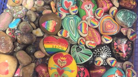 Love conquers Storm Dennis as 500 hand-painted rocks take pride of place at Ely pub. Picture: FLEUR