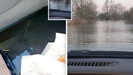 Balazs Attila attempted to drive his Vauxhall Corsa through flooded Welney Wash before it filled wit